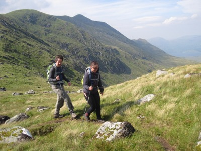 A windblown pair of walkers and the view back towards Beinn a'Chochuill
