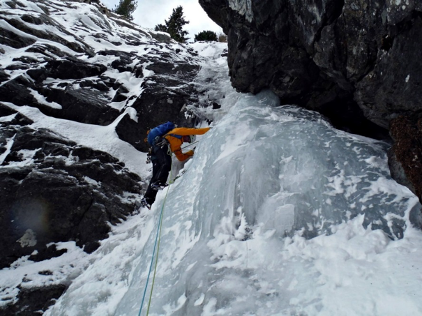 Picture above of James starting off on pitch 1 of Lillaz Gully (WI4).