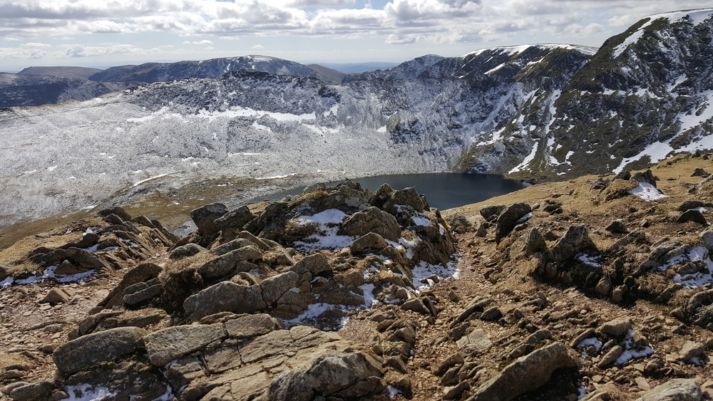 Striding Edge, Helvellyn and Red Tarn from the summit of Catstye Cam
