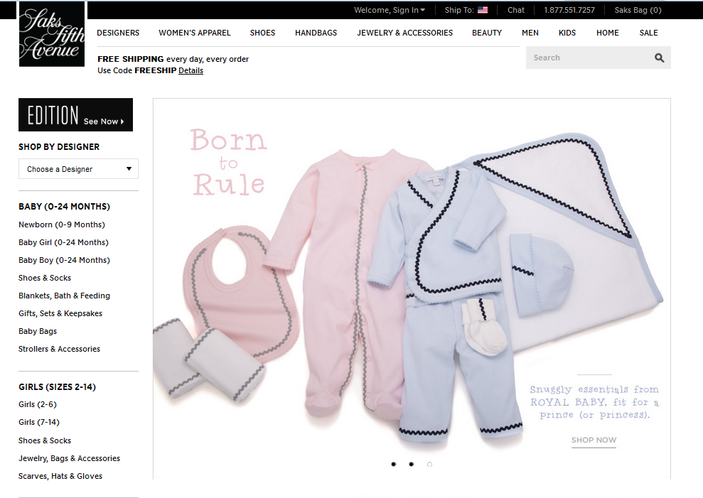 Royal Baby Featured on Saks Fifth Avenue
