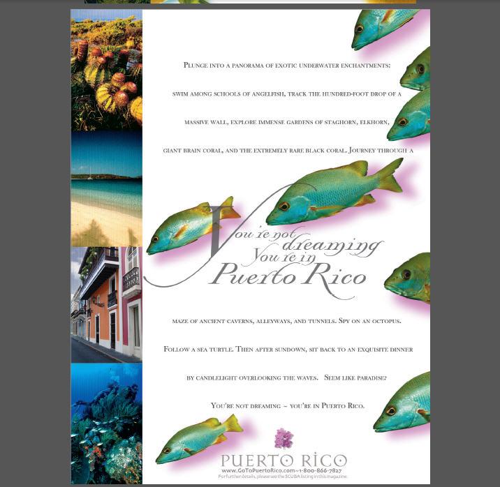 Puerto Rico Tourism, Magazine Ad