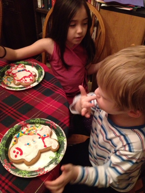 Decorating gingerbread men. Those cookies didn't last long.