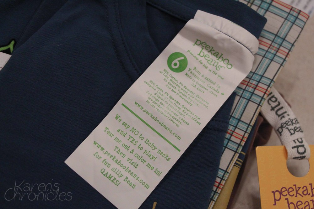 All the pertinent stuff we parents need to know is right there on the front of the tags.