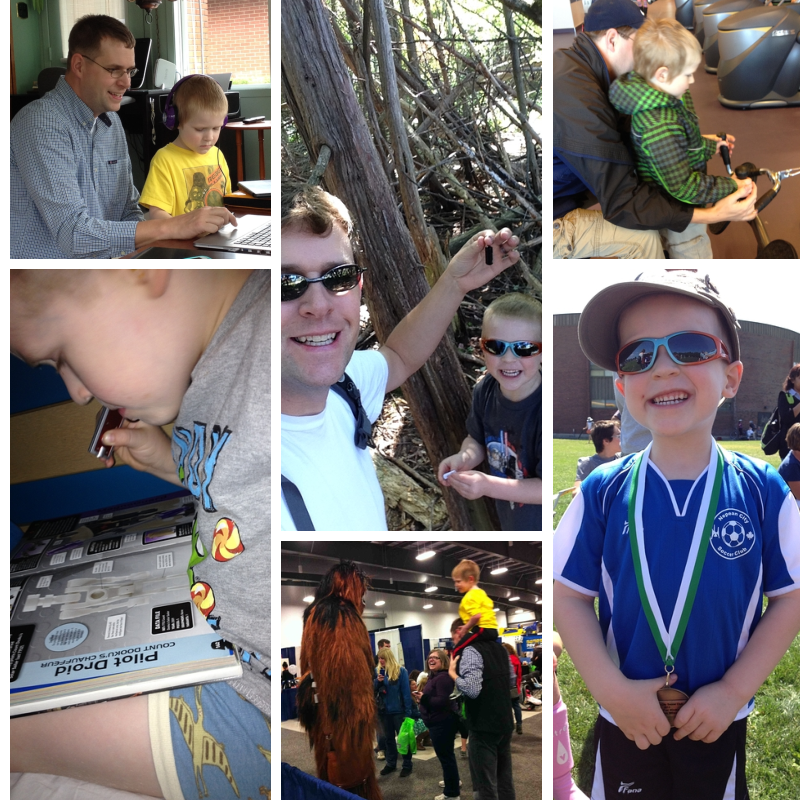 These are just a few of the things Brandon get's exposed to - playing with Daddy on Mommy's laptop, geocaching, touring the local recreaction centre, reading in bed at night with a flashlight, meeting Chewbacca at Kidsfest, playing soccer.