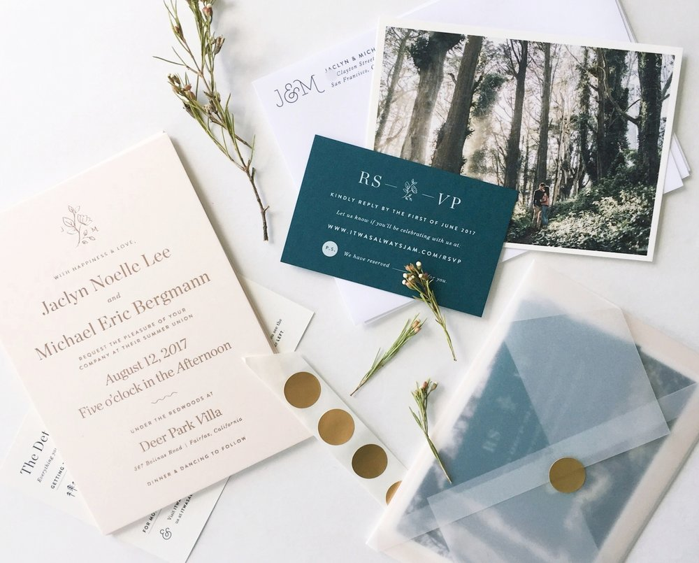 J&M Wedding Stationery |  branding, event design, print