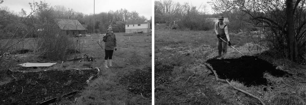 Katie & James planting ostrich fern along stream valley.