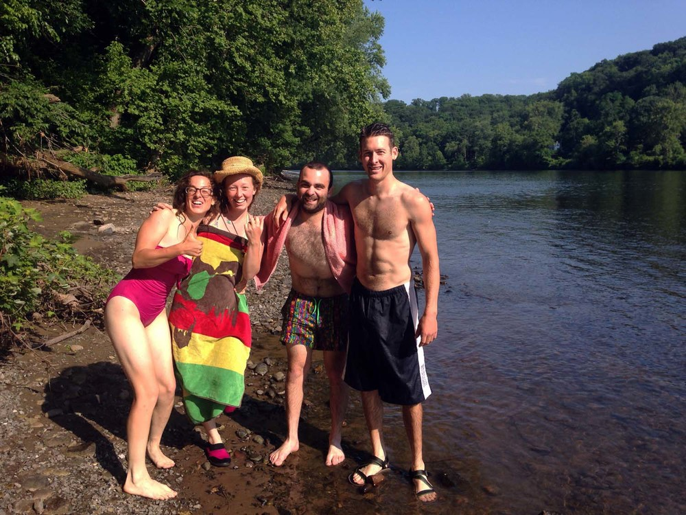 Lindsay, Katie, Matt (our terrific volunteer from last season), & James, taking a break for a swim in the river.