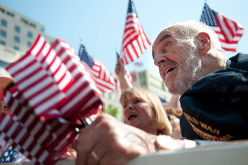 World War Two veteran Robert Brenner Jr at the Tea Party rally on tax day in Washington DC