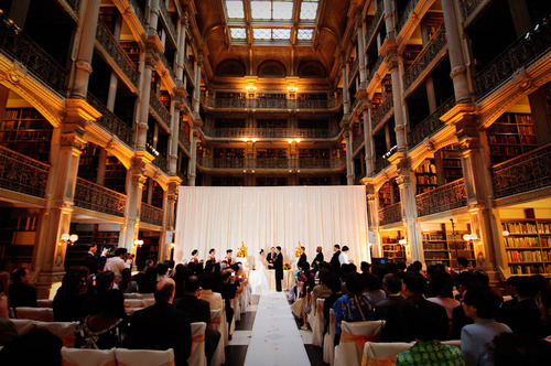 wedding at the Peabody Library in Baltimore