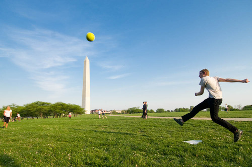 Kick ball on the National Mall in Washington DC