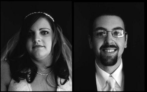 Large format portrait of a bride and groom before their wedding