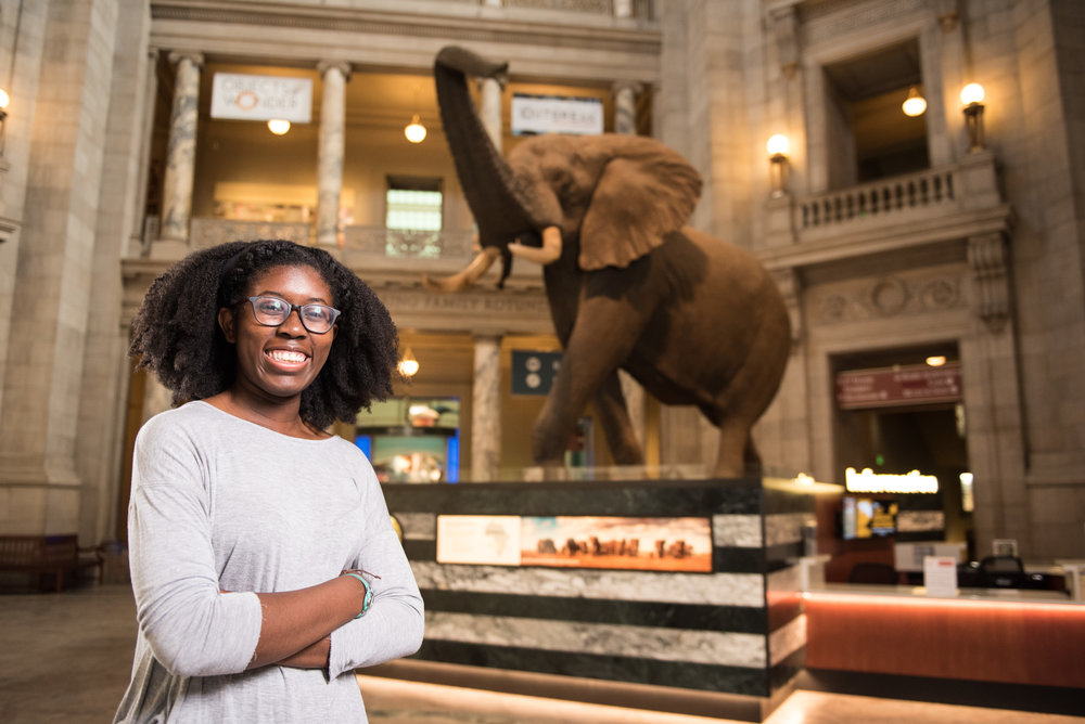 Pomona College student D'Maia Curry at the Smithsonian National Museum of Natural History in Washington, DC.