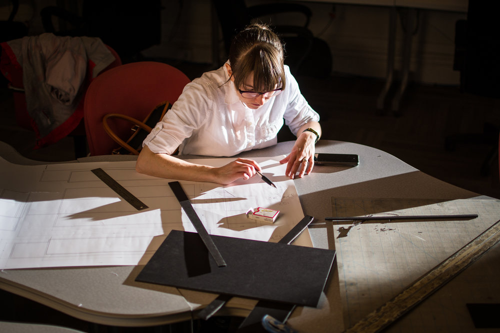 """Corcoran College of Art + Design Exhibition Design Student Hannah Chasen works on her exhibition model for her thesis titled """"Finding Refuge"""" in Washington, DC."""