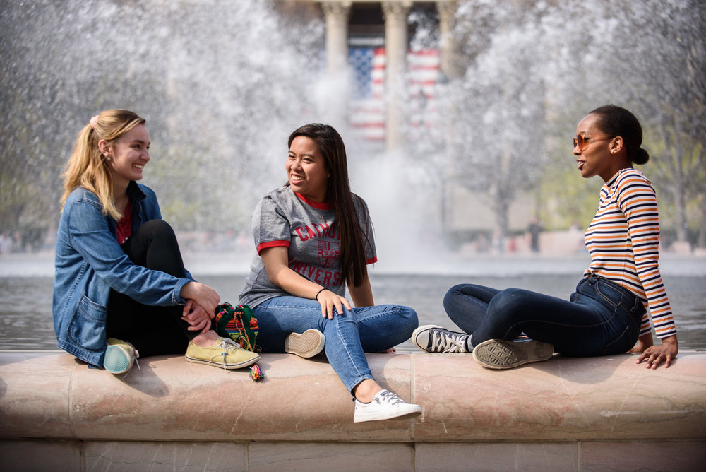 Catholic University students at the National Gallery of Art Sculpture Garden in Washington, DC.