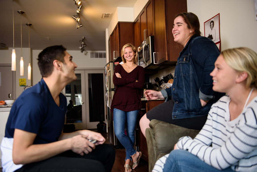 Catholic University students in the Portland Flats in Washington, DC.