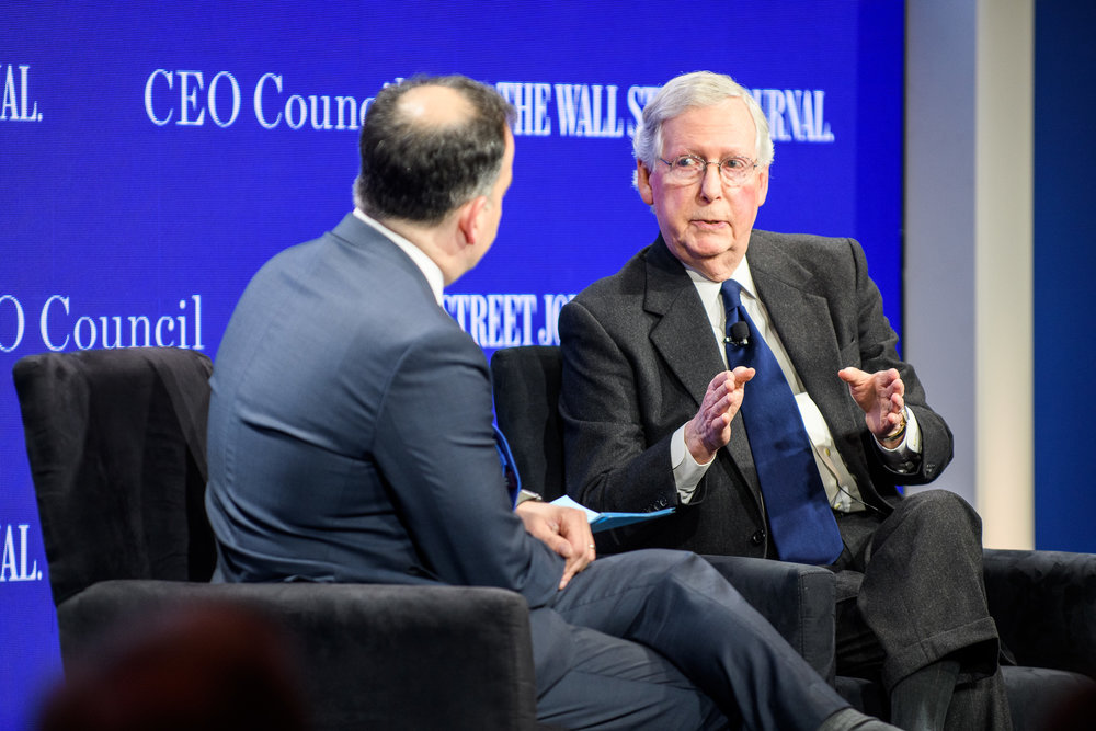 Mitch McConnell, US Senate Majority Leader, talks with Matt Murray at the Wall Street Journal CEO Council in Washington, DC.