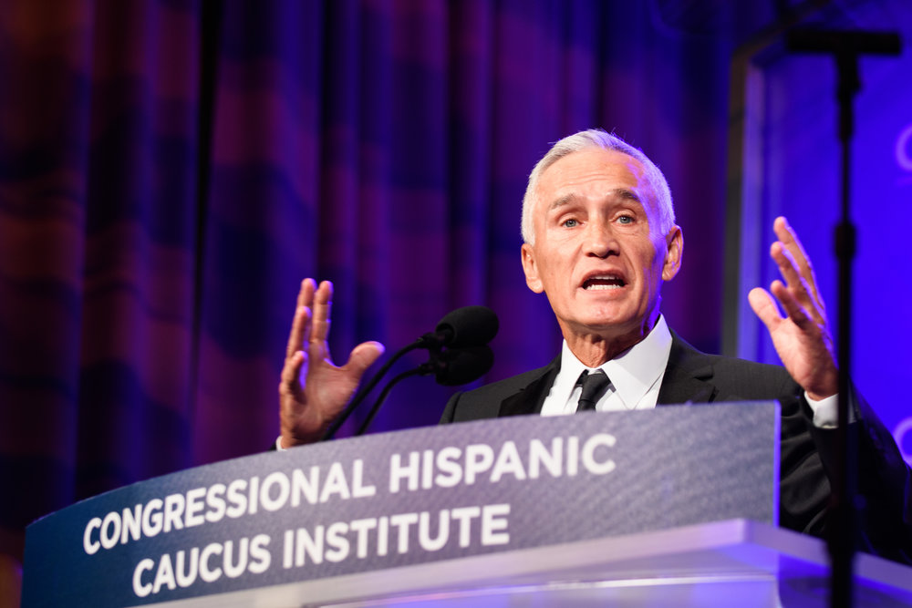 Journalist Jorge Ramos speaks at the CHCI Annual Awards Gala at the Marriott Marquis in Washington, DC.