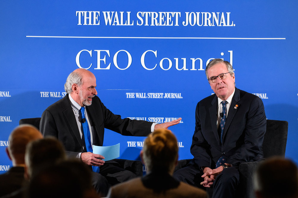 Jeb Bush talks with Gerald Seib at the Wall Street Journal CEO Council in Washington, DC on December 4th, 2018. (Photo by Denny Henry for The Wall Street Journal)