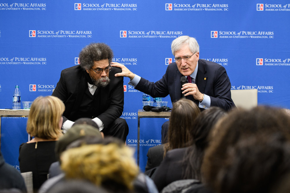 Cornel West and Robert George at American University in Washington, DC. Shot for the Institute for Humane Studies.