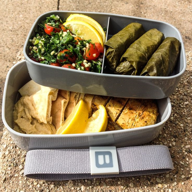 bentgo chicken tabbouleh grape leaves gray box.jpg