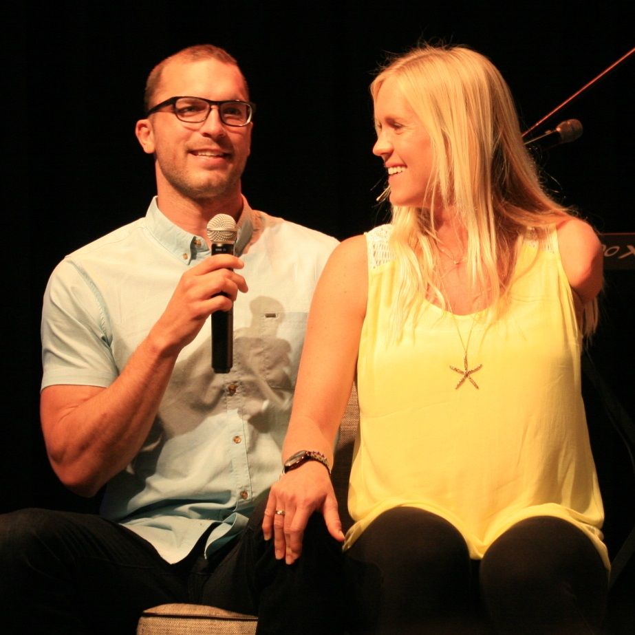 Bethany Hamilton and husband Adam Dirks at Daybreak Church Carlsbad