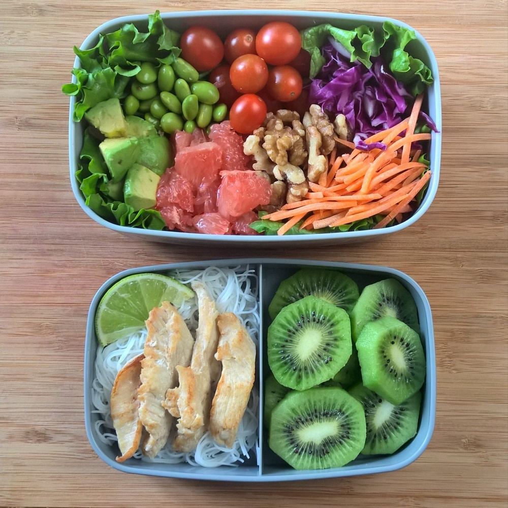 Bento Lunch Box - Chicken on Rice Noodles with Rainbow Salad