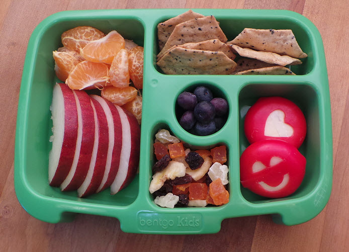 This tray pops out of the BentgoKids lunch box. Easy clean up and fun for at-home meals.