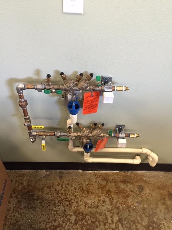 RP Backflow valves in an East Wenatchee, WA restaurant.