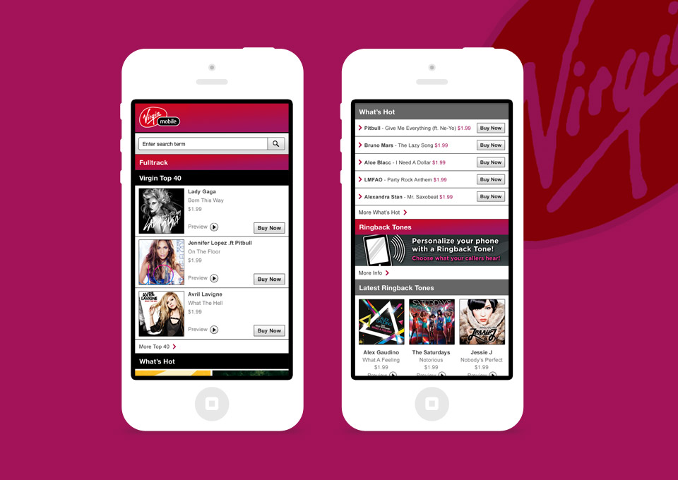 Homepage screen concepts for Virgin Mobile USA ringback service.