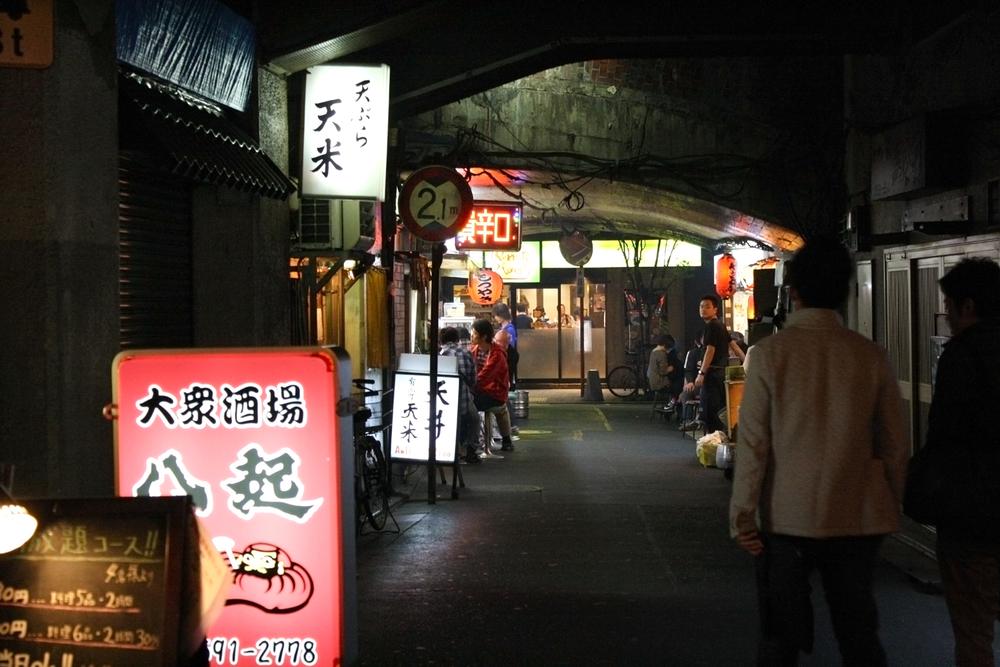 Street food under train tracks, Tokyo