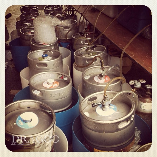 Kegs at the ready  (Taken with  Instagram  at Slyfox Goat Races 2012)