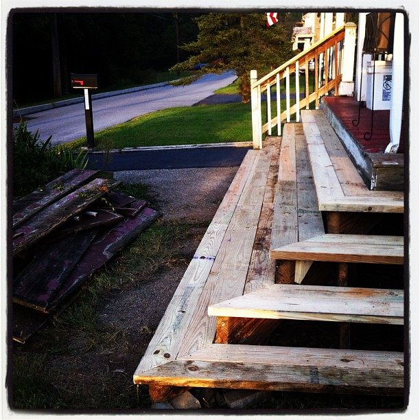 Emergency porch repair. Not the cleaning I planned for the weekend.  (Taken with  Instagram )