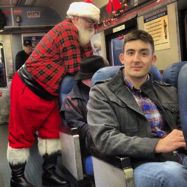 Totally oblivious. #botrainmuseam #baltimore #ridewithsanta