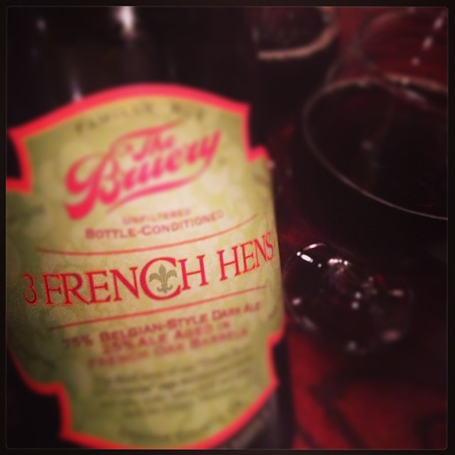 @The_Boozehound lucked into a bottle of this bottle of 3 French Hens from 2010. Perfect to end the evening of sampling. #thebrurey