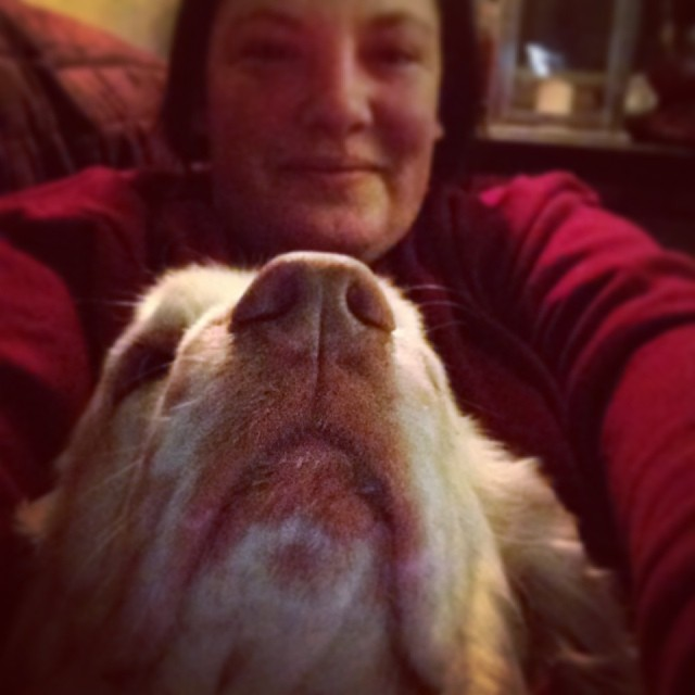 Selfie with Toonie. If only my arms were longer to capture her upside down in my lap. #livingwithclumbers