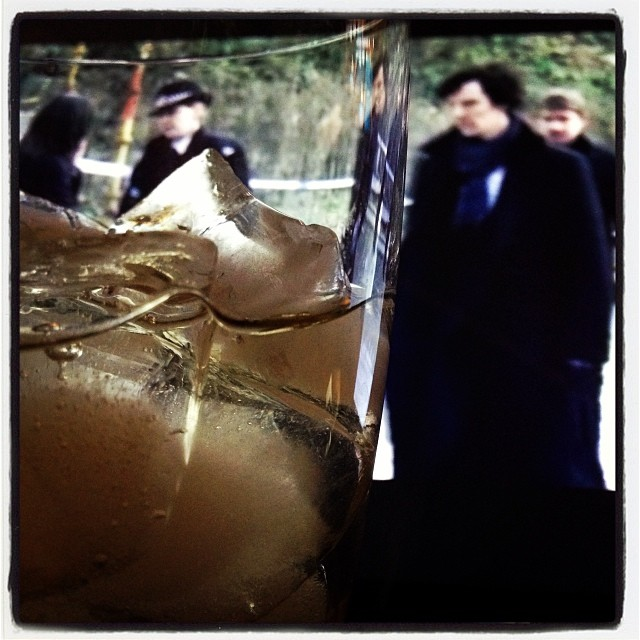 Having a cocktail with Sherlock Holmes. #benedictcumberbatch #dof #sippingtequila
