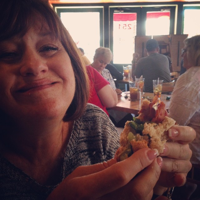Kathy and her BLFGT sandwich. #jestineskitchen #charleston