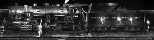 NW1980-1993 S-1a Switcher And Its Crew, Roanoke, VA, 1958  12 x 51 inches silver print