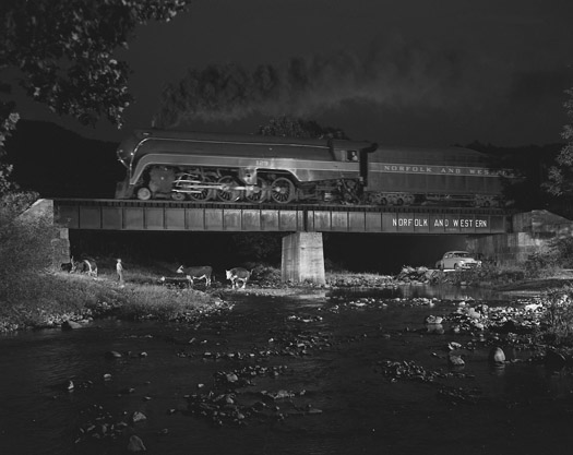 NW1108 Steven Breeden shoos cows, No. 2 on bridge 425, Arcadia, VA, 1956  16 x 20 inches silver print