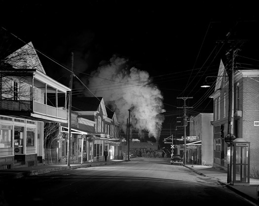 NW1345 Policeman Weldon Painter Patrols the Main Street of Stanley, VA, 1956  16 x 20 inches silver print
