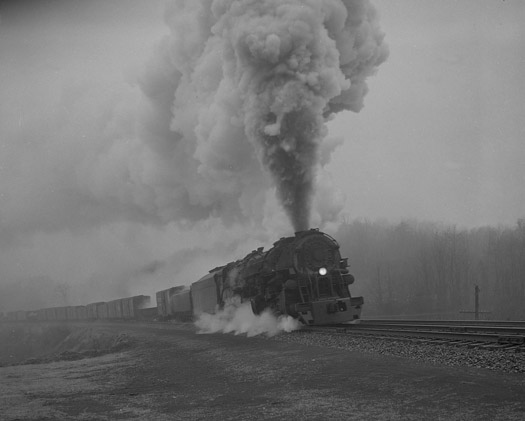 NW1998 A-Class Pulling Time Freight, Foggy Day, Bonsack, VA, 1958  16 x 20 inches silver print