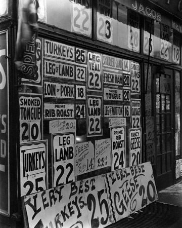 Berenice Abbott Jacob Heymann Butcher Shop, 345 Sixth Avenue, New York, 1938  10 x 8 inches vintage gelatin silver contact print