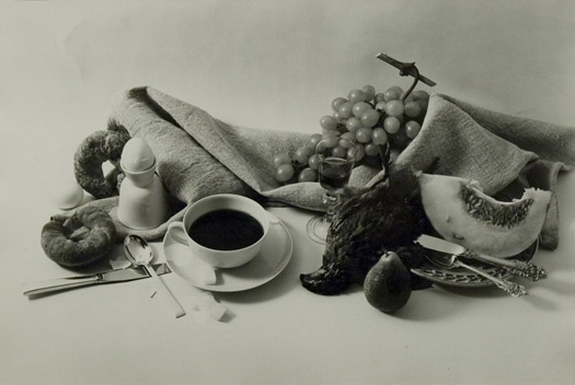 Leslie Gill Composition with Cup, Egg and Fruit, 1950  11.5 x 16.5 inches vintage silver print
