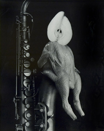 Michiko Kon Chicken, Pear and Saxophone, 1996  24 x 20 inches silver print