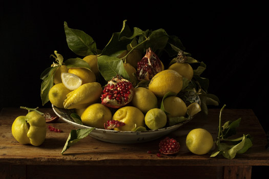 Paulette Tavormina Lemons and Pomegranates, After J.v.H., 2008  20 x 30 inches archival pigment print