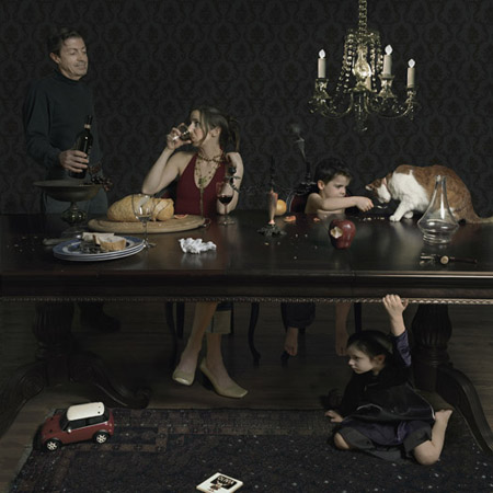 Julie Blackmon Dinner Party, 2005  22 x 22 inches archival pigment print