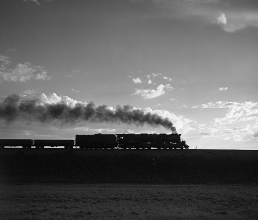 "UPRR No. 3957 ""Challenger"" Rock River, WY, July, 1952  8 x 11 inches vintage silver print"