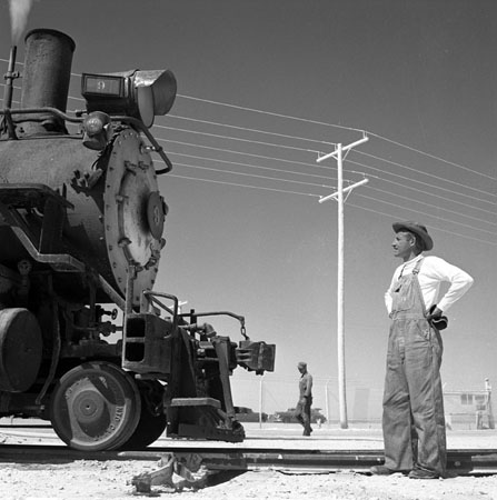 "SD&AE ""Spike Jones"" Glares at a balky SP No.9, At Plaster City, CA May, 1953  14 x 11 inches vintage silver print"
