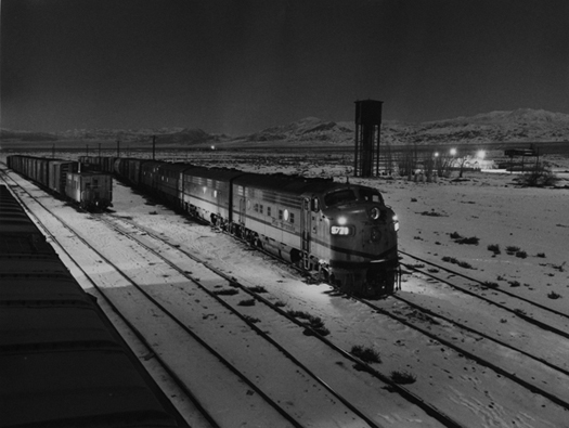 SPRR Mina train with a leased D&RGW loco at Mina, NV Dec. 31, 1971  11 x 14 inches vintage silver print