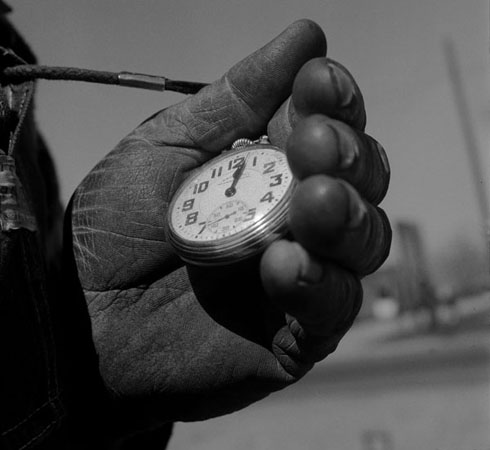 T&S Ry Track Foreman's Watch, Escalon, CA, 1962  10 x 8 inches vintage silver print